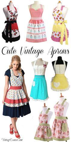 Cute vintage aprons, retro 50s aprons, & old fashioned aprons online at VintageDancer.com