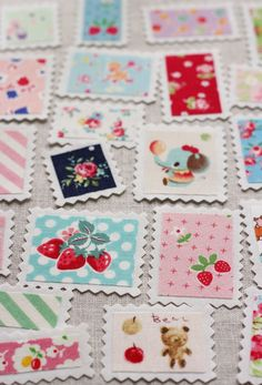 Got scraps?   Make gift tags - Fabric 'stamps' ~ cutest idea EVER!!! Made by Amy (nanacompany) from Amy Morinaka's book Zakka Handmades.  Another reason to keep all those itty bitty pieces :) I'm turning into a scrap hoarder...