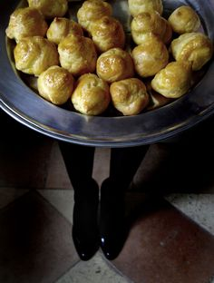 Gougères (traditional Gruyère cheese puffs) - Mmmmmmm I love Gruyère cheese!