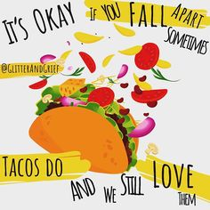It's okay if you fall apart sometimes.⠀ Tacos do 🤷🏻‍♀️⠀ And we still love them 💕💕💕⠀ ⠀ ✨✨✨✨✨✨✨✨✨✨✨✨✨✨⠀ 😂😂😂⠀ Just a little to… Pain Quotes, Me Quotes, Grieving Quotes, Losing A Loved One, Mental Health Quotes, I Miss Her, Just A Little, Falling Apart, What Is Like