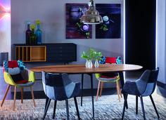 #kontrast #furniture #dining #vintage #solidwood #metalllegs #wood #solid #table #chairs #icecream #treku #aura #polspotten #liniedesign #leatherrug #rug #leather #foscarini #diesel #glas