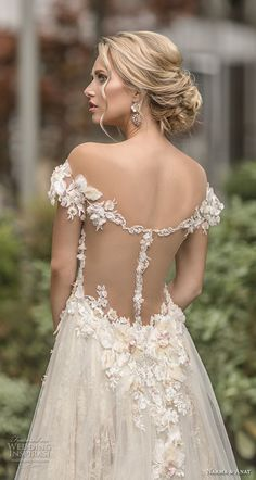naama anat spring 2019 bridal off the shoulder deep plunging sweetheart neckline full embellishment romantic a line wedding dress sheer back chapel train (1) bv -- Naama & Anat Spring 2019 Wedding Dresses | Wedding Inspirasi #wedding #weddings #bridal #weddingdress #bride ~