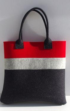 1f60d28812 Borsa fatta a mano feltro rosso e grigio Shopper di WeltinFelt Borse Fatte  A Mano,