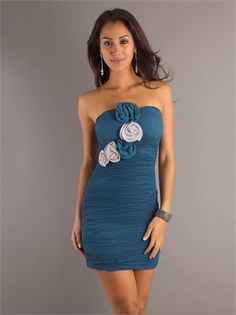 Slim-line Pleated with Hand made Flower Mini Length Homecoming Dress HD1134 www.homecomingstore.com $114.0000