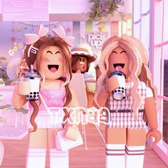 Cute Giraffe Drawing, Roblox Animation, Cool Avatars, Roblox Pictures, Aesthetic Videos, At Home Store, Kawaii Anime, Pink Dress, Cute Girls