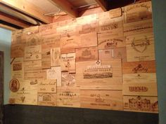 Wine Crate Wall Design - Buy wine panels for a similar project at www.winecratesandboxes.com