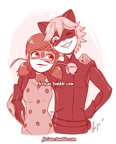 ferisae: Was commisioned to draw these two cuties being all chummy #Miraculous Ladybug #Chat Noir #Ladybug