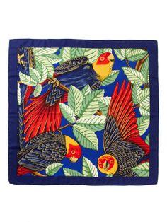 "Hermes ""Les Perroquets"" Silk Twill Scarf 35 1/2"" x 35 1/2"" by Hermès at Gilt"