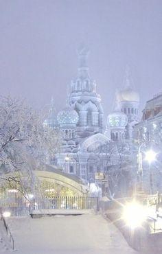 Winter evening in St. Petersburg, Russia.