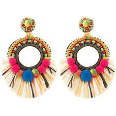 Ranjana Khan Multi Pom Pom Clip-On Earrings ($345) via Polyvore featuring jewelry, earrings, accessories, clear earrings, bead pendant, hoop earrings, fringe earrings and clip on hoop earrings