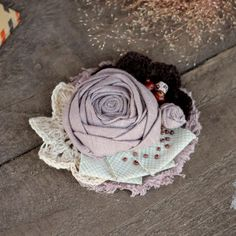 Shabby Fabric Brooch Beige Cocoa Taupe Textile by NostalgieDecor
