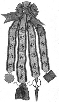 ribbon chatelaine from 1862 with rosette at the top