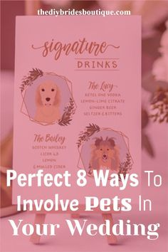 Why your pet will miss your wedding program? You can arrange some wedding signs with them. Here are 8 more best ideas for you to involve your pet in your wedding. Wedding Programs, Wedding Signs, Wedding Day, Wedding Colours, Wedding Color Schemes, Ketel One Vodka, Wedding Planning Inspiration, Ginger Beer, Color Trends