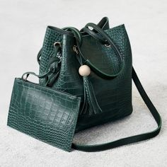 Crocodile Embossed Pouch Bag and Bucket Bag - Green