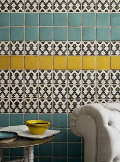 Turquoise and yellow tiled/ B&W accent