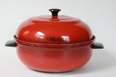 $16 Vintage Mirro Bun Warmer Vegetable steamer Retro Kitchen ware Red by LittleShopofWhatNots on Etsy