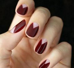 Easy nail art designs for beginners, Cute nails natural. Fall Manicure, Manicure Y Pedicure, Manicure Ideas, Glitter Manicure, Red Nails, Hair And Nails, Burgundy Nails, Oxblood Nails, Purple Nails