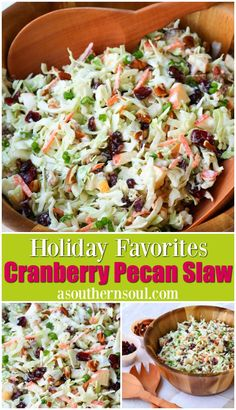Take your coleslaw to a whole new level with sweet, tangy cranberries and crunchy pecans. Mix in an apple and some savory, green onions then toss them all in a creamy dressing for a dish that will be a favorite at any gathering! #coleslaw #slaw #cranberryslaw #cranberries #pecans #asouthernsoul #sidedish #salads #holidayrecipe #easterrecipes #entertainingrecipes #easyrecipe Easter Recipes, Holiday Recipes, Dinner Recipes, Summer Recipes, Best Side Dishes, Side Dish Recipes, Salad Dressing Recipes, Salad Dressings, My Favorite Food