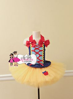 Snow White Disney Princess Birthday Party Tutu Outfit - Halloween Costume - Cake Smash - Snow White Dress Skirt Shirt 1st 2nd 3rd - 6mos-5T