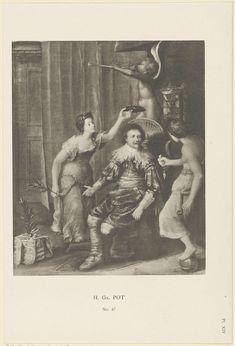 Anonymous | Portret van Frederik Hendrik, prins van Oranje, Anonymous, 1850 - 1949 | Portret van Frederik Hendrik. Hij zit in een vertrek met aan de muur zijn wapen met een kroon. Rondom staan drie allegorische figuren. Een engel blaast op een bazuin en een figuur houdt een lauwerkrans boven zijn hoofd. Midden onder 'No. 47'. Rechtsonder 'Pl. XIV'.