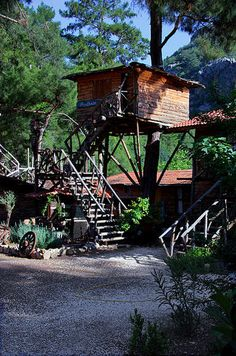 Kadir's Tree House, Olympos, Turkey  Built as an actual tree house, Kadir's offers treehouse rooms, dormitories and private bungalows for two or three people. Breakfast and dinner are included, and Kadir's has two bars that open at lunch and close after the last guest leaves.     Guests can play volleyball, ping-pong or enjoy a picnic outdoors at Kadir's. The hostel is close to the beach and ancient ruins     There are 300 beds plus camping grounds.