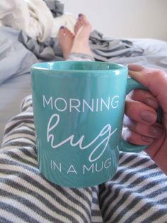 Morning Hug In A Mug Coffee Cup // Teal Mug // Work Mug // Cute Coffee Lover Mug…