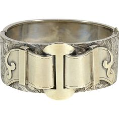 Victorian Sterling Silver Buckle Bracelet, Ca. 1880 from crabel on Ruby Lane