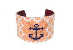 Asher Riley  Anchor Needlepoint Cuff Bracelet