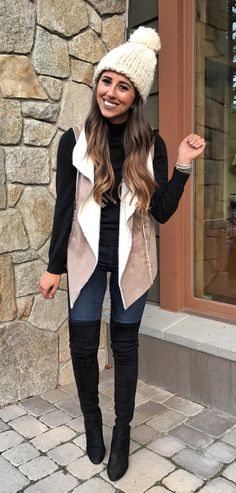 #winter #outfits women's gray vest. Click To Shop This Look.