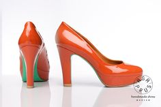 orange Neon pumps by Aga Prus with mint painted soles. handmade