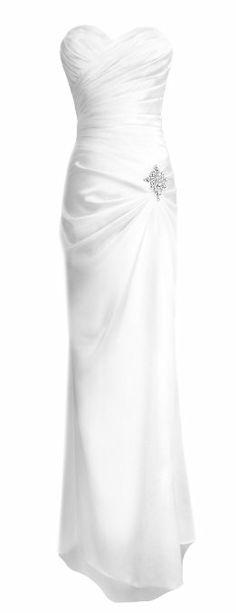 Amazon.com: Fiesta Formals Strapless Long Satin Evening Gown Bridesmaids Dress Prom Formal Dress w/ Brooch: Clothing