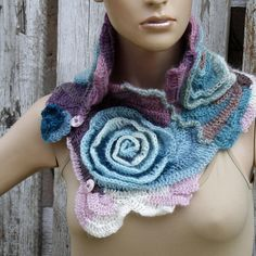 Crochet Scarf unique desing Freeform crochet roses Womens