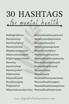 Want to increase your Instagram post reach to connect with your ideal clients? Hashtags are an amazing way to increase your reach organically! Check out these 30 hashtags for mental health. Put them in a bundle and use them with your next mental health related post on IG! For more mental health tags, follow the link check out Hashtag Hub!   alignedvirtualassistance.com   #hashtags #mentalhealth #mentalhealthawareness #businesstips #contentcreation #instagram Social Media Marketing Business, Digital Marketing Strategy, Content Marketing, Social Media Content, Social Media Tips, Hashtags For Likes, Mental Illness Awareness, Design Social, Mental Health Advocate