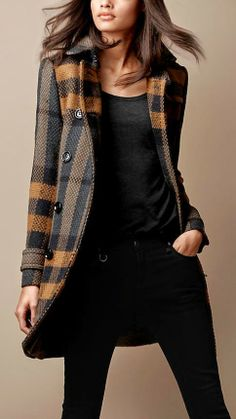 Burberry Brit Mid-Length Woven Check Wool Trench Coat estilo-y-moda Fashion Mode, Fast Fashion, Look Fashion, Fashion Trends, Fashion Sets, Fashion Story, French Fashion, Gothic Fashion, Fashion Design