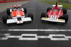 James Hunt McLaren and Niki Lauda Ferrari