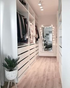 Minimalist Closet Design With Drawers With Open Shelving And Holders - A white . - Minimalist Closet Design With Drawers With Open Shelving And Holders – A white minimalist closet - Walk In Closet Design, Bedroom Closet Design, Closet Designs, Bedroom Decor, Small Walk In Closet Ideas, Modern Bedroom, Master Bedroom, Small Walk In Wardrobe, Bedroom Mirrors