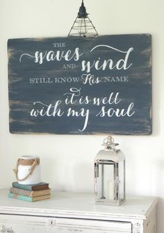The waves and wind still know His name   wood sign by Aimee Weaver Designs