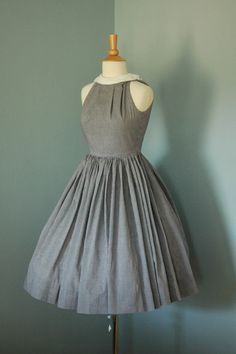 Vintage Dress Navy White Gingham Day Dress