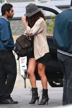 Selena Gomez.. Free People Clipperton Fedora, Topshop sweater and Frye Jenny Backpack bag..