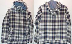 Lands End Kids 10-12 Madras Plaid Harrington Jacket Chambray Lined Hood XS Adult  | eBay