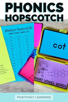 Play hopscotch with short vowel words! This literacy activity will get your students up and moving in a meaningful way! Add to your small groups, centers, or indoor recess! #movementgames #phonicsgames #indoorrecess