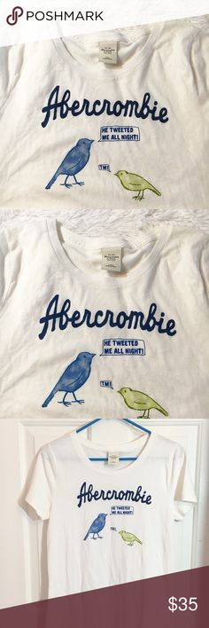 🐦Abercrombie & Fitch Soft White Tee🐤 2018 Resolution: Laugh More and make people Smile. This is sure to do both! Soft white tee. Like New Condition. Never worn. NWOT. Abercrombie & Fitch Tops Tees - Short Sleeve