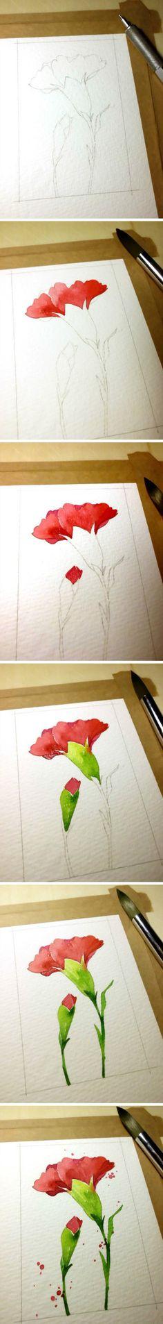 美到心里的水彩花绘。作者:木下美香@东篱下采集到手稿 水彩 油画(3292图)_花瓣插画/漫画