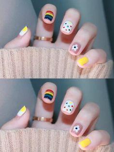 nails Candy nail, Small hand-painted rainbow + wave, Cute, full of vitality Diy Nails Cute, Cute Summer Nails, Cute Acrylic Nails, Pretty Nails, Pastel Nails, Cute Nail Art Designs, Minimalist Nails, Nail Swag, Kawaii Nails