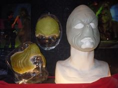 Original Grinch facial prosthetics on display SFX prosthetics and accessories