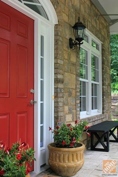 Front Porch Decorating Ideas: Behr awning red door