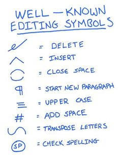 Here is a list of Well-Known Editing Symbols, just in case you aren't familiar: Book Writing Tips, Editing Writing, Writing Resources, Writing Help, Writing Prompts, Writing Ideas, The Words, Editing Symbols, Vídeos Youtube
