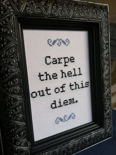 Carpe Diem cross stitch pattern by cspinney on Etsy, $5.00