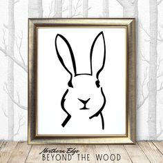 scandinavian bunny print, white bunny art, white rabbit art, square print, black and white nursery, nursery wall art, nursery art, rabit art
