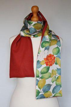Combination scarf Beautiful Silk Kimono & Linen by WabiSabiWasabi
